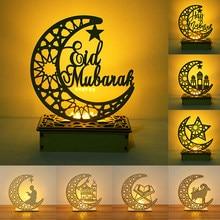 EID Mubarak-adorno de madera con luz LED, Decoración de Ramadán, decoración para fiesta musulmana islámica, Eid Al Adha, suministros para Festival de Ramadán Kareem