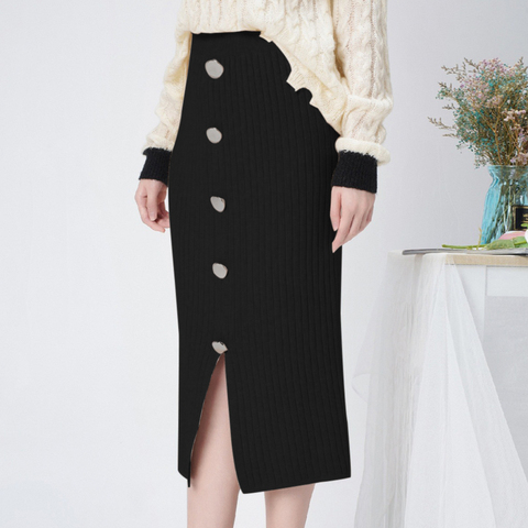 High Waist Winter Knitted Women Skirts 2019 Autumn Warm Casual Skirt Long Female Front Split Rib Skirts With Buttons Streetwear Lahore
