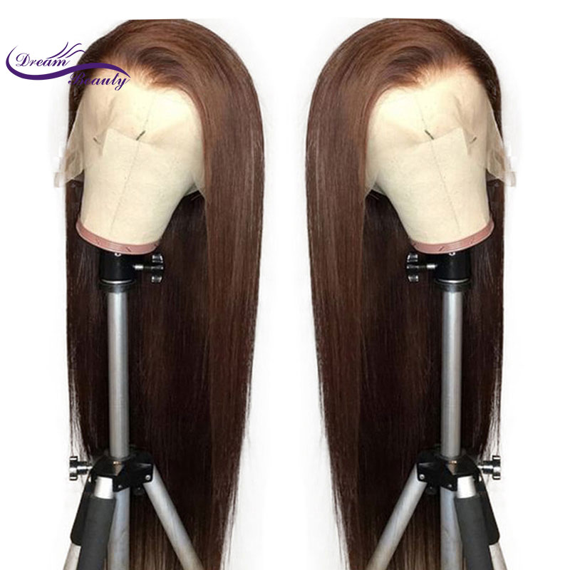 Dream Beauty Lace Front Human Hair Wigs Straight Dark Brown Color 13X6 Lace Front Hair Wigs With Baby Hair PrePlucked Remy Hair
