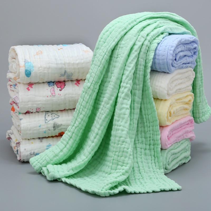 Baby Muslin Squares Baby Blanket Cotton Baby Blankets Newborn Winter Children's Plaid On The Bed Muslin Diaper Baby Bath Blanket