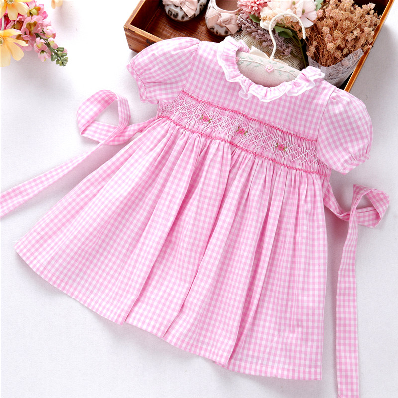 Infant Baby Girls Dress Plaid Pink Smocked Casual Flower Floralkids Clothes Summer Boutiques Cotton Peter Pan Collar Vintage