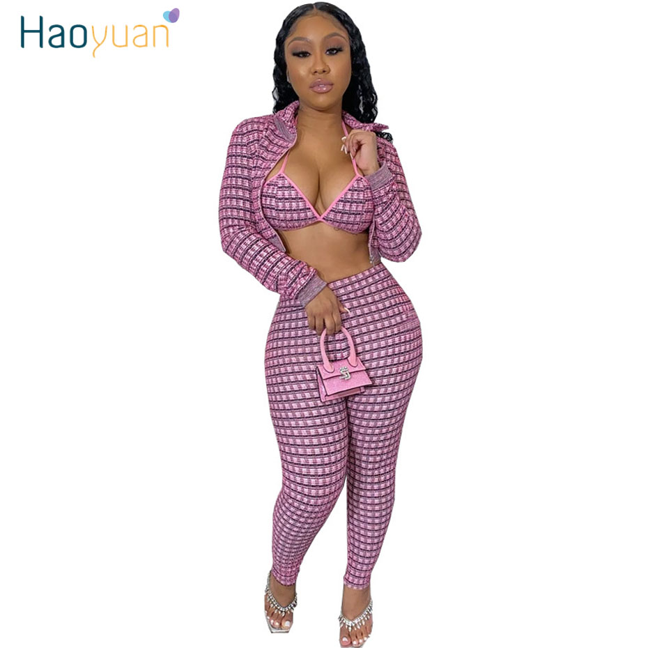 ZOOEFFBB Sexy Plaid 3 Piece Set Woman Festival Clothing Long Sleeve Coat+Bra+Pants Club Birthday Outfits For Women Matching Sets