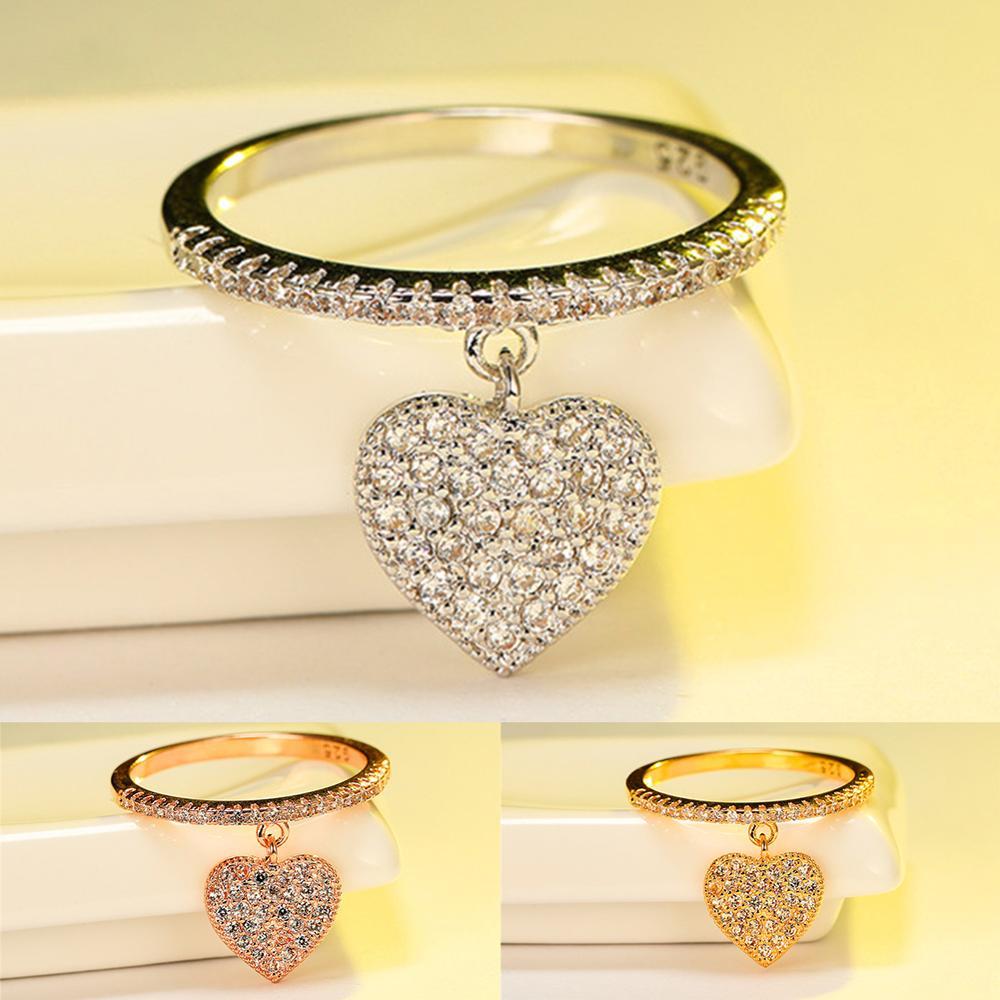 Изящное женское кольцо с подвеской с белым кристаллом, очаровательные обручальные кольца цвета розового золота для женщин, милое обручальн...