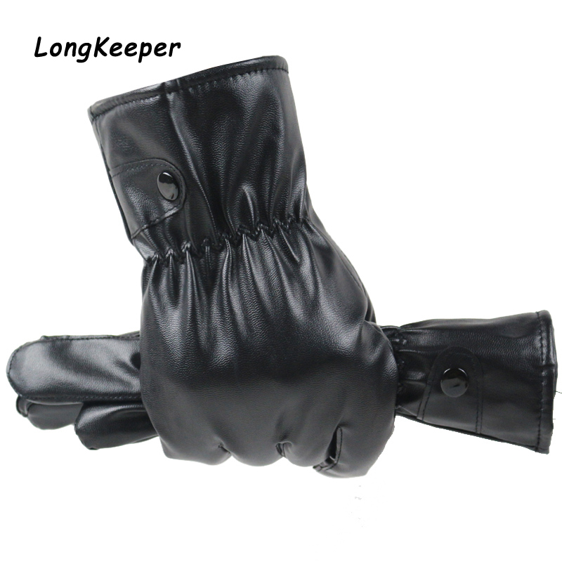 New Black PU Leather Gloves Male Full Finger Thicken Driving Gloves Winter Touch Screen Warm Windproof Mittens Luvas For Women