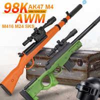 Mini Wasser Kugeln Pistole Spielzeug für Jungen Geschenke Sniper 40cm Manuelle Laden Schießen Kunststoff Spielzeug Pistole 98K AK47 m4 M416 AWM M24 SKS
