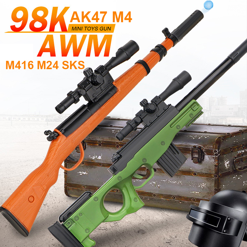 Mini Water Bullets Gun Toys For Boys Gifts Sniper 40cm Manual Loading Shooting Plastic Toy Gun 98K AK47 M4 M416 AWM M24 SKS