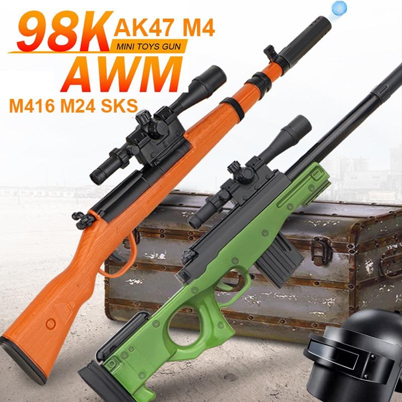 Mini Water Bullets Gun Toys For Boys Gifts Sniper 40cm Manual Loading Shooting Plastic Toy Gun 98K AK47 M4 M416 AWM M24 SKS