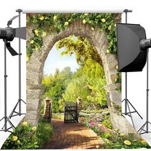 цена на Spring Garden Backdrop Stone Arch Yellow Flower Bridal Shower Wedding Photography Background Birthday Photography Backdrops