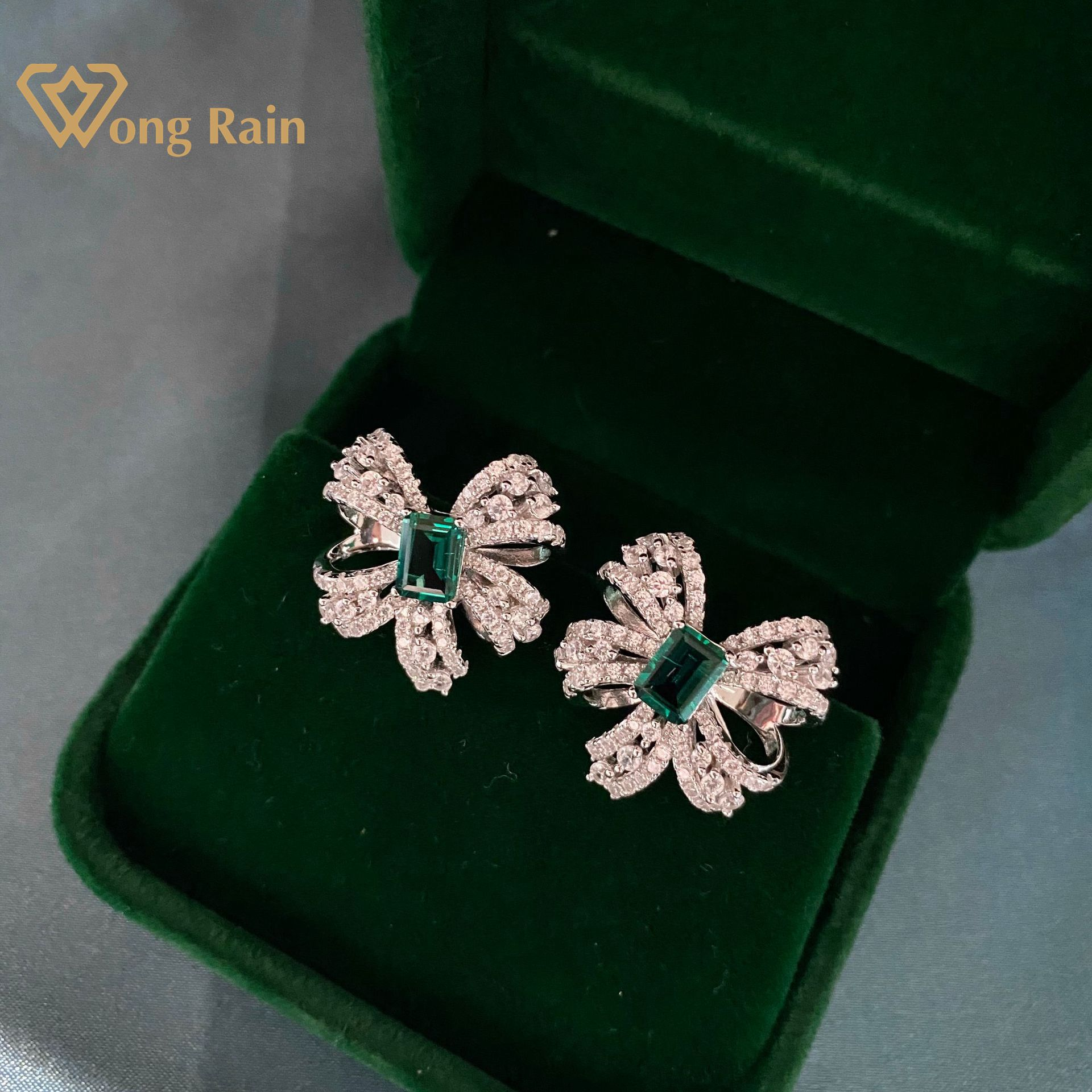 Wong Rain Luxury 925 Sterling Silver Created Moissanite Emerald Gemstone Birthstone Ear Studs Earrings Fine Jewelry Wholesale