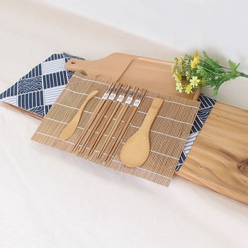 9pcs/set Sushi Mat Bamboo Knife Rice Spoon Chopsticks Sushi Maker Set Rice Mold Kitchen Sushi Mold Cooking Tool 4