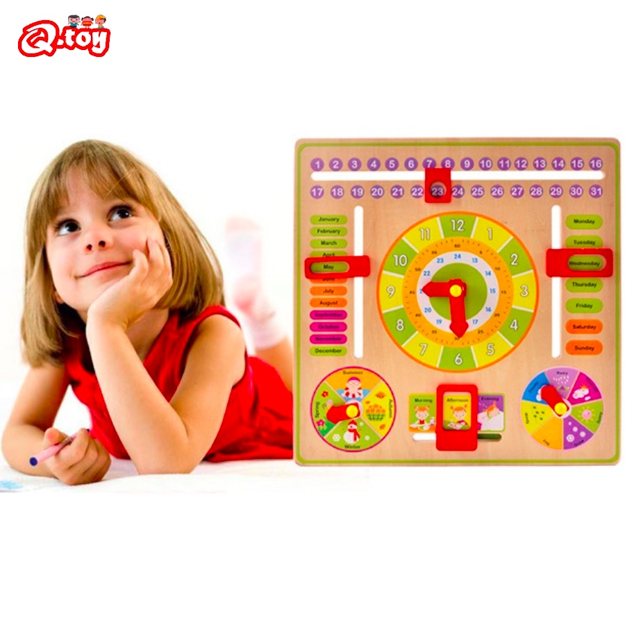 Montessori toy wooden toys multifunctional board toys clock calendar cognition teaching aids wooden weather season time baby toy