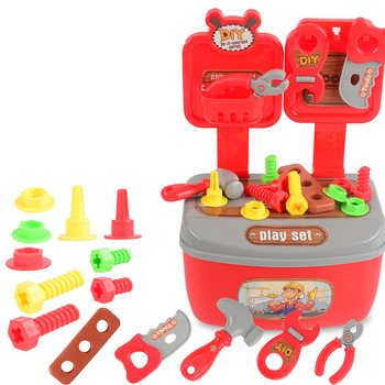 Children's play house portable toolbox toys 22PCS disassemble disassemble repair and maintenance tool set фото