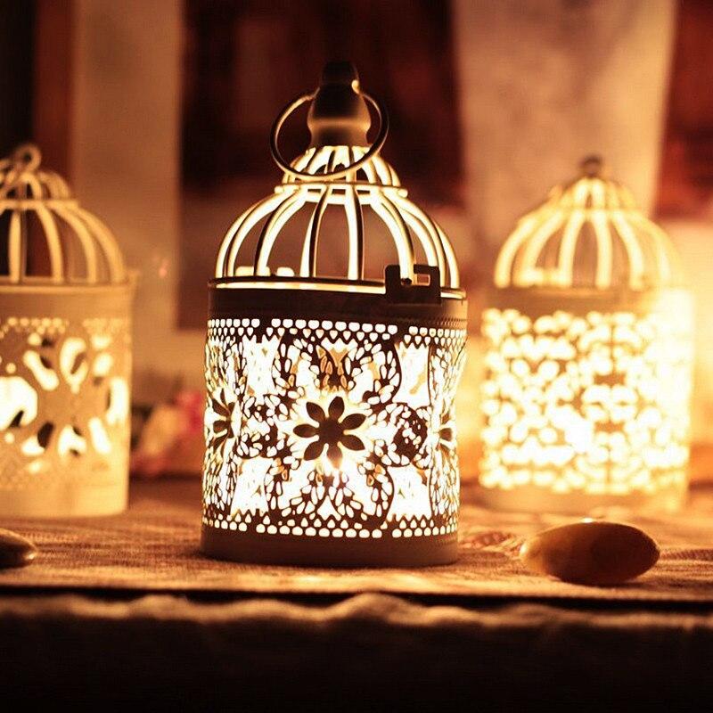 1 adet yaratıcı candelabros içi boş asılı kuş kafesi mumluk şamdan fener gelin dekor Vintage şamdanlar ev dekor
