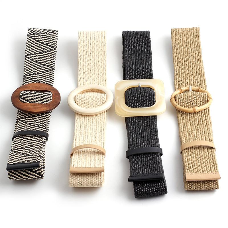 4.8cm Women Braided Elastic Belt Round Buckle Square Button Fashion Girdle Bamboo Buckle Wood Buckle Jade Buckle Belt