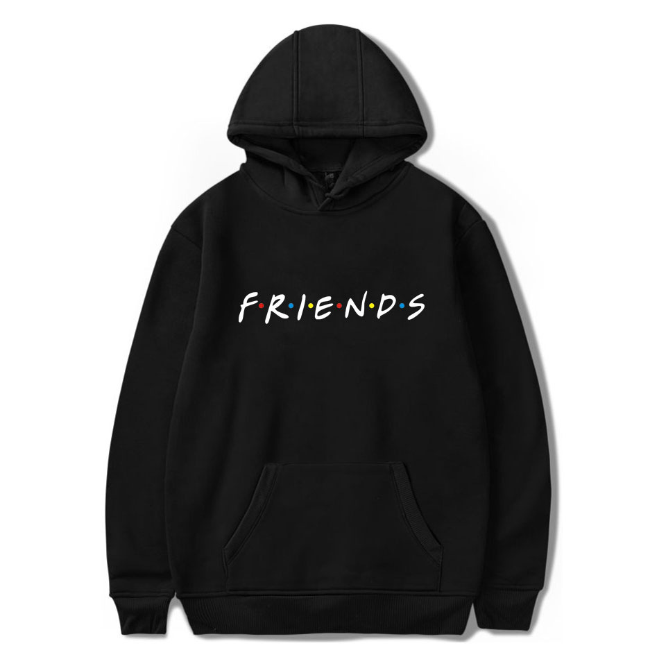 Letter Friends Print Hoodie Long Sleeve Plus Size Sweatshirt Women Casual Streetwear Couple Pullover Fashion Female Sweatshirt
