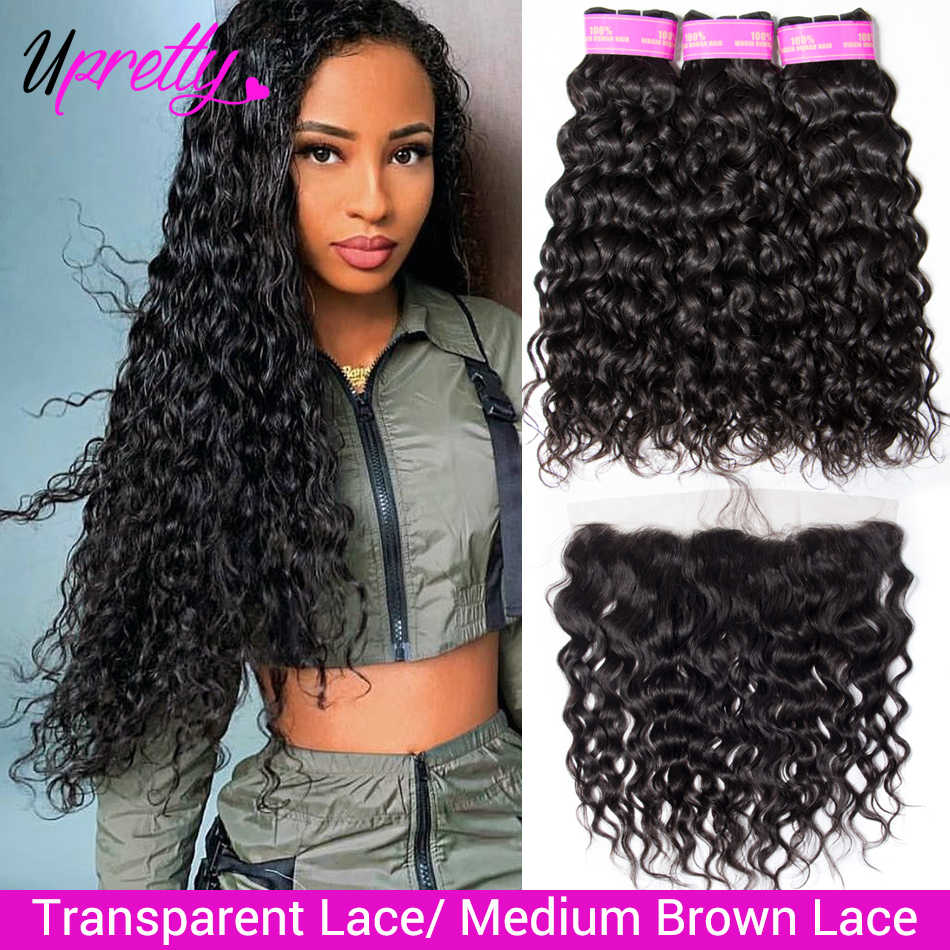 Upretty Hair Water Wave Bundles With Frontal Brazilian Wet And Wavy Human Hair Bundles With HD Transparent Lace Frontal Closure
