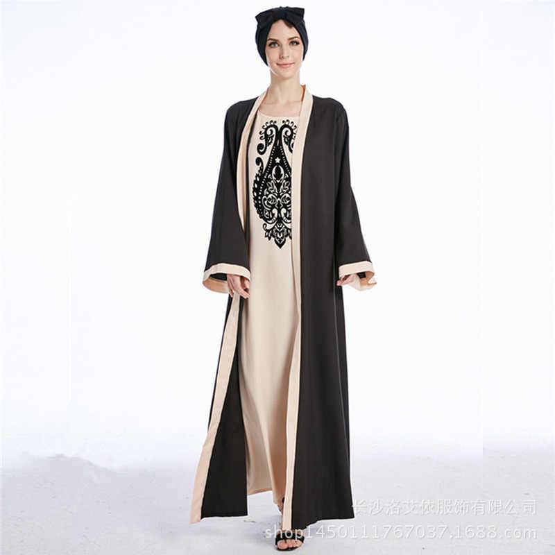 Müslüman sahte iki parçalı Abaya elbise kadınlar Dubai arap Kimono uzun elbise baskı büyük salıncak Musulman islam giyim Maxi başörtüsü elbiseler