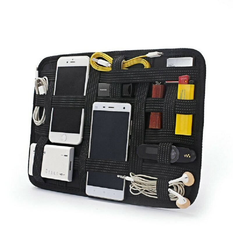 Potable elástico integrado preto acessórios eletrônicos cabos organizador caso de armazenamento usb saco digital fone de ouvido casa organização Sacos de armazenamento    -