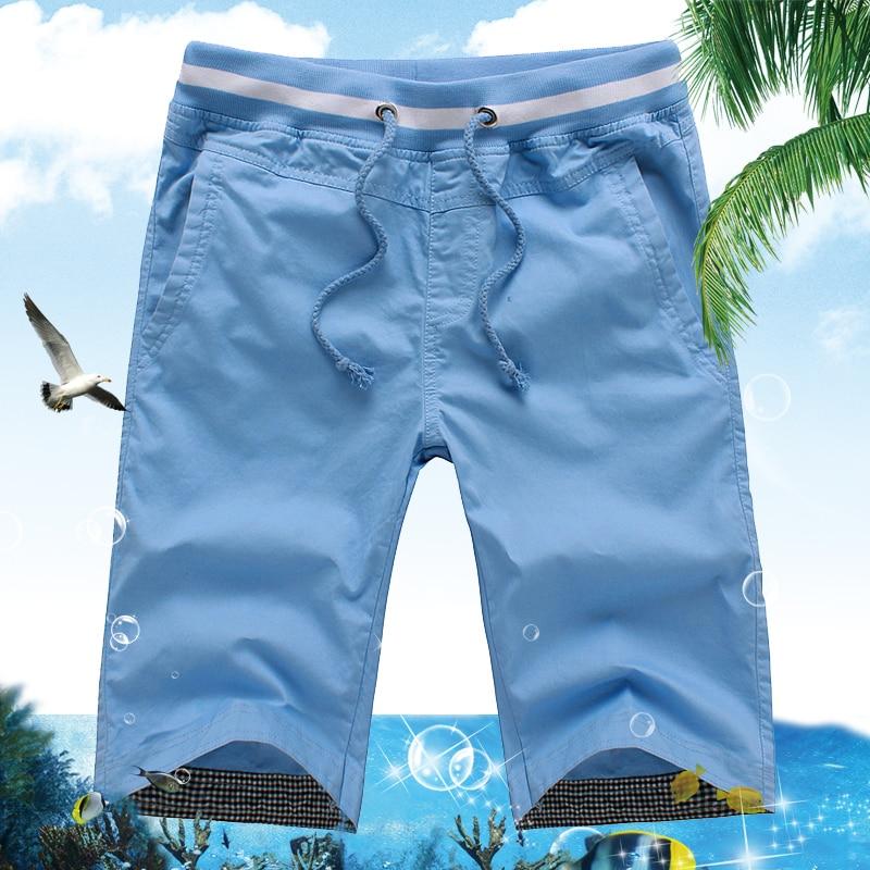 New 2018 Men's Summer Casual Shorts Men Straight Shorts Male Fashion Cotton Beach Short Pants Candy Colors Plus Size 5XL