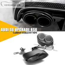 Car Stying Tail Exhaust Muffler Tips Muffler Pipe For Audi RS3 4 5 6 7 8 304 stainless steel carbon fiber