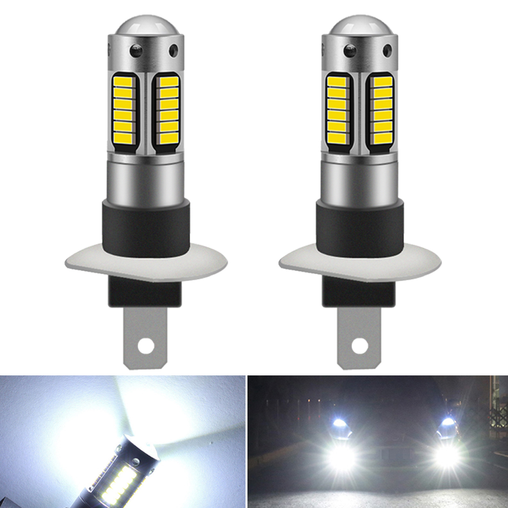 2 uds H1 H3 bombilla LED luces antiniebla súper brillantes luces antiniebla de coche 12V lámpara blanca de día para Honda Civic Accord Crv Fit Jazz City