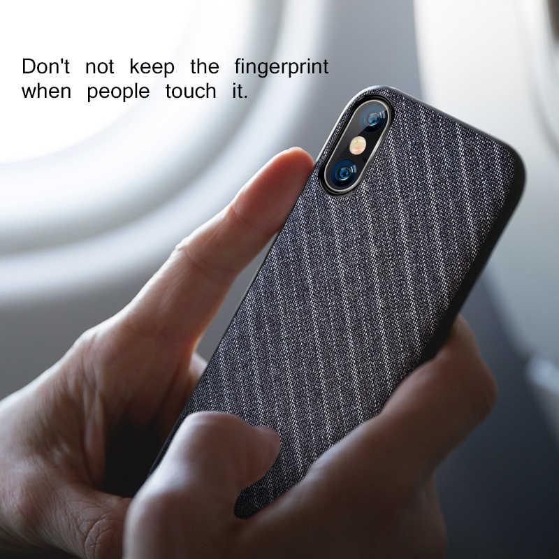 Para o iphone x caso capa de tecido pano para o iphone x capa traseira caso negócios cor escura para o iphone x handcraft cavalheiro ipx caso