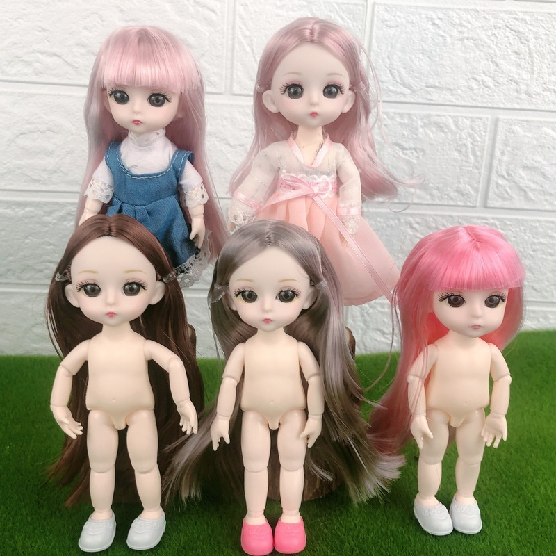 16cm BJD Doll 13 Movable Jointed Dolls 3D Eyes White Skin Plastic Ob11 Doll For Girls Toys Female Nude Body Fashion Gift