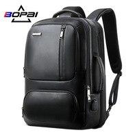 BOPAI Echtem Leder Große Reise Rucksäcke Männer Wochenende Reisen Taschen 15,6 Zoll Notebook Rucksack mit USB Lade Port