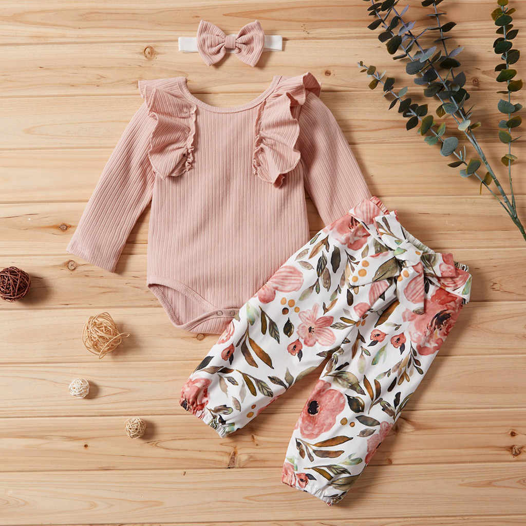 Newborn Baby Girl Clothes 2019 Autumn Ribbed Ruffles Romper Floral Pants Headband Toddler Clothing Set Infant Girls Outfits