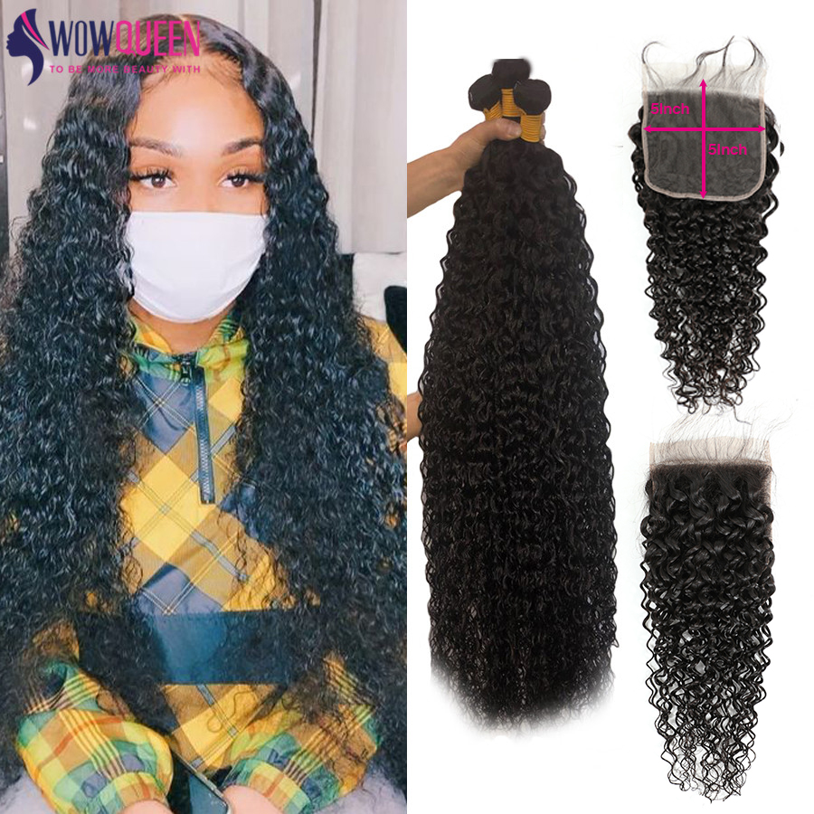 30 32 34 36 pacotes de onda água com fechamento wowqueen 5x5 fechamento e pacotes cabelo brasileiro remy feixes de cabelo humano com fechamento