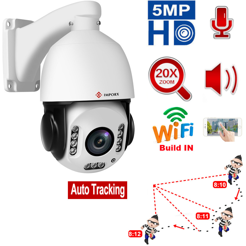 Auto Tracking Wireless WIFI PTZ IP Camera 5MP 4MP 20X WIFI People Humanoid Recognition Speed Dome IP Surveillance Camera SD Card