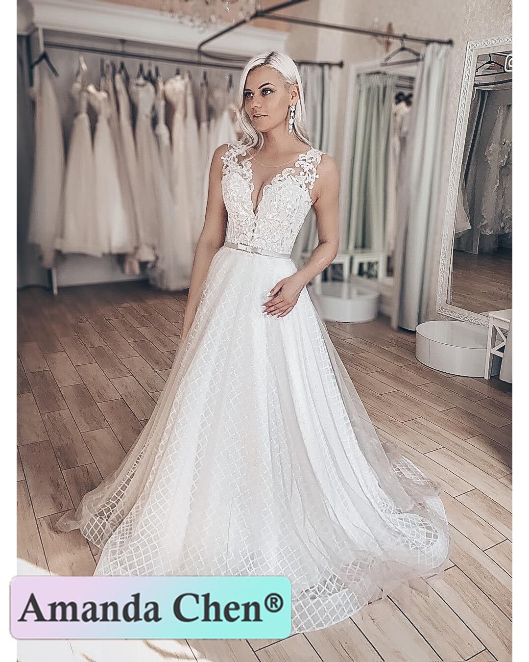 2020 Unique Fabric A Line Wedding Dress With Belt Custom Made