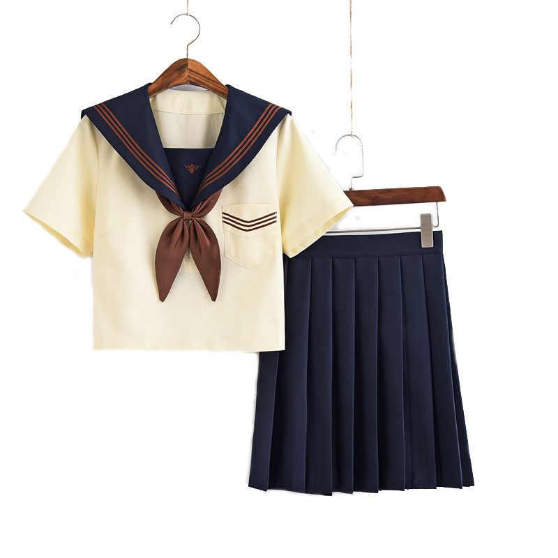 Robes d'école japonaise avec cravate gris jaune clair à manches courtes marin Anime Jk jupe plissée robe uniforme pour lycéenne