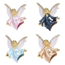 Kartun Lucu Small Angel Rhinestone Bros Pin Fashion Kepribadian Crystal Peri Bros Wanita Dekorasi Pesta Perhiasan(China)