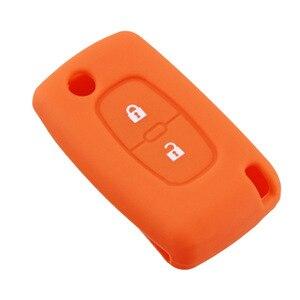 Image 3 - 2 boutons Silicone clé de voiture couvre étui pour PEUGEOT 207 307 308 407 408 pour Citroen C3 C4 C4L C5 C6 housse de protection