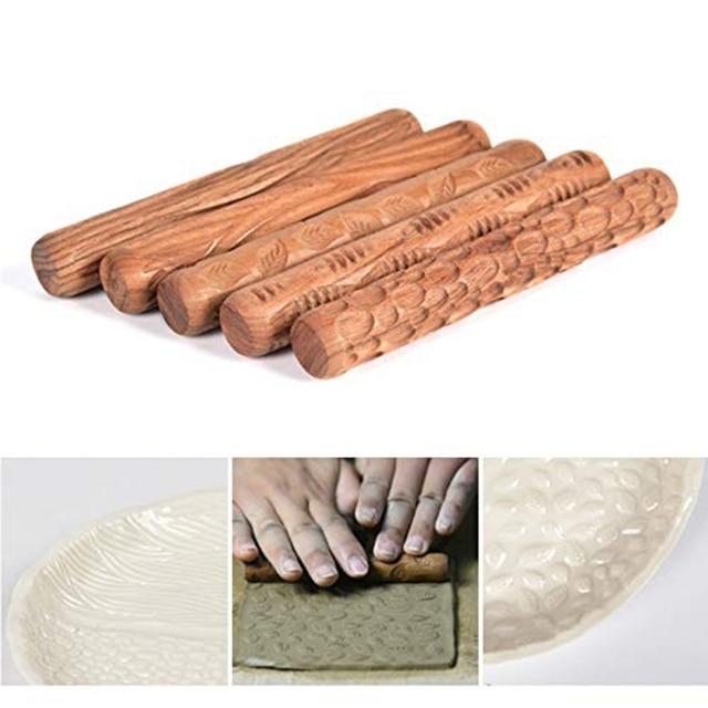 5 rolos de mão de madeira das ferramentas da cerâmica dos pces para o rolo do teste padrão da argila do selo da argila