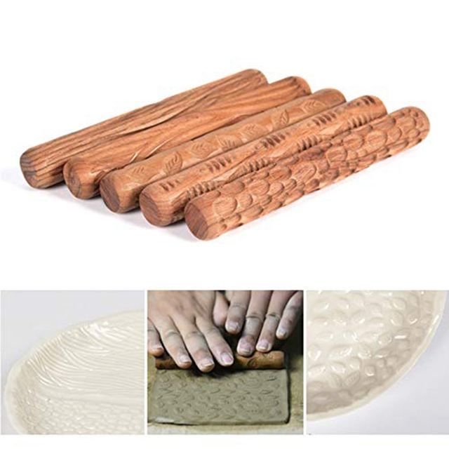 5PCS Pottery Tools Wood Hand Rollers for Clay Clay Stamp Clay Pattern Roller