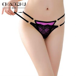 CHAOZHU T Back Bright Hot Underwear Women Panties Thong Pink 7 Colors Neon Black Lace Double Layers Sexy Thin Waist G String