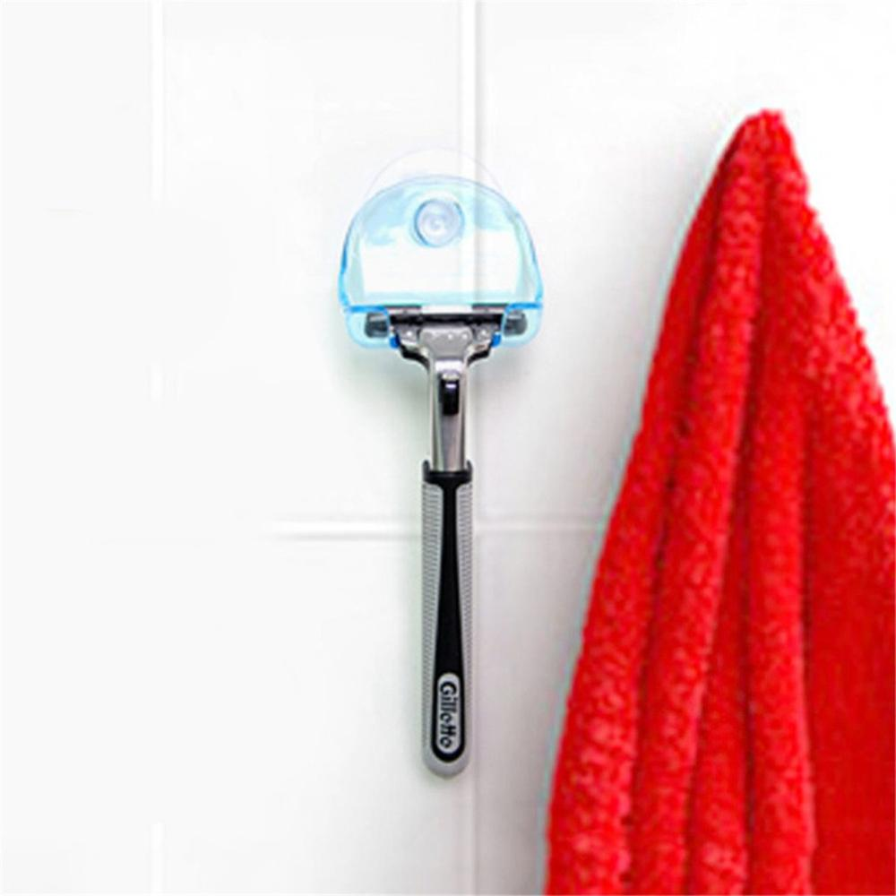 Practical Design Home Bathroom Shaver Hanging Rack Clear Storage Shelf Bathroom Sucker Suction Cup Razor Holder