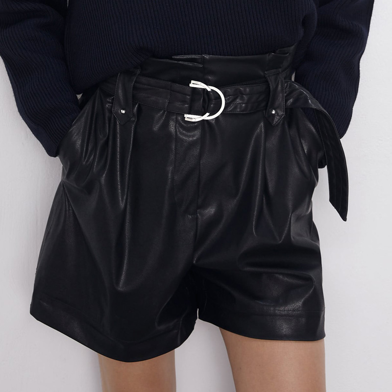 Women Black Faux Leather Paperbag Shorts 2019 New Arrival Casual Style With Belt Mini Short Trousers Spring Autumn YNZZU YB384