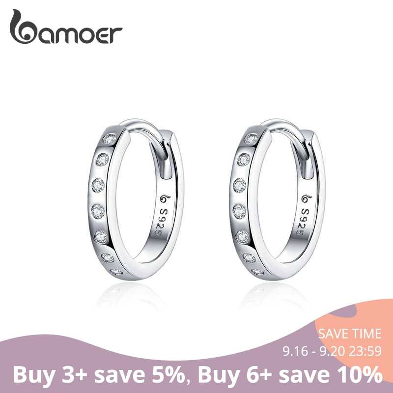 BAMOER Hoop Earrings for Women 925 Sterling Silver Minimalist Simple Circle Earing Real Silver Korean Fashion Jewelry BSE101