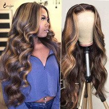 Human-Hair-Wigs Highlight Wig Honey-Blonde Lace-Front Body-Wave Ombre Brazilian 4/27