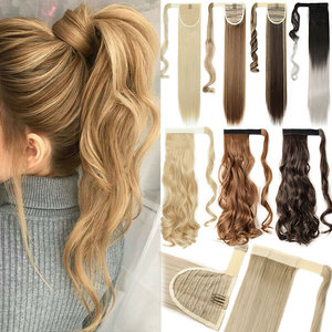 "s-noilite 16""/24""/26"" long clip in ponytail hair extension wrap around ponytail synthetic fake pony tail hairpiece for women(China)"