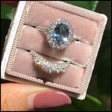 Модные женские кольца набор классических белых/синих стразы