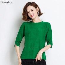 女性2021春夏新作因果ニットプルオーバー女性の服の固体半袖ジャンパー素敵なのセーター