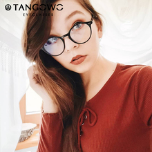 TANGOWO TR90กรอบแว่นตาผู้หญิงRetroรอบแว่นตา2020แฟชั่นผู้ชายสีดำสายตาสั้นแว่นตาCP1007