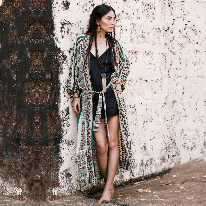 Geometric Striped Self Belted Long Kimono Plus Size Beach Tunic Women Fashion Clothes Casual Tops and Blouses Shirts N1086 1