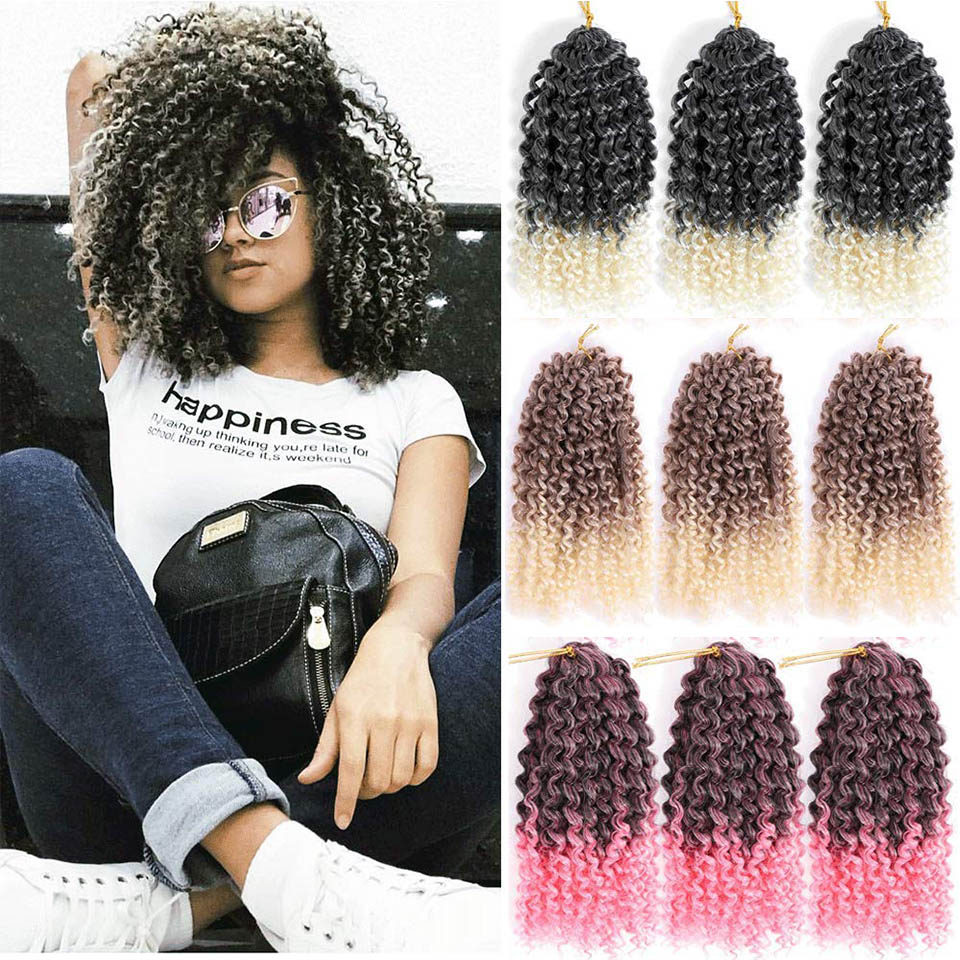 Hair-Extensions Braid-Hair Marley Synthetic-Crochet Purple Ombre Grey Brown Black 12'' title=