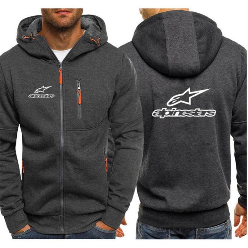 Alpinestars Men Sports Casual Hoodies Fall Sweatshirts Hoodies Jacket Fashion Long-sleeved Zipper Hoody Tracksuit Fleece Cardiga