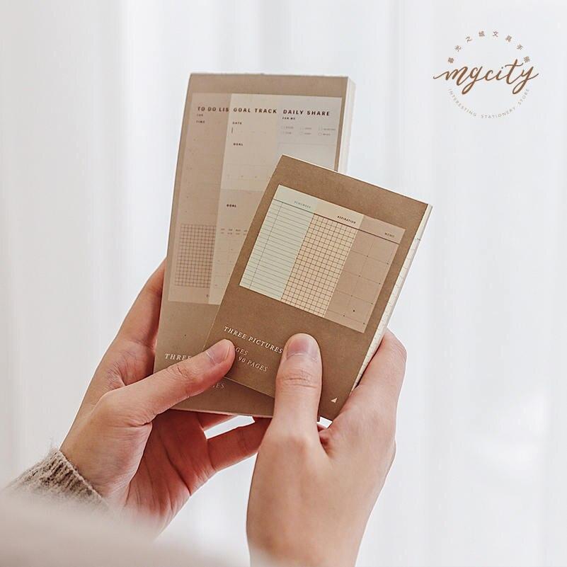 JIANWU 1pc Retro Planner Bullet Journal Memo Pad Message Card DIY Note Pad Note Paper School Supplies